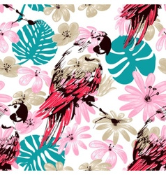 Exotic summer seamless pattern flowers leaves and vector