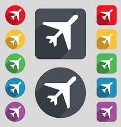 Airplane icon sign a set of 12 colored buttons and vector