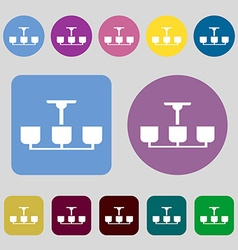 Chandelier light lamp icon sign 12 colored buttons vector