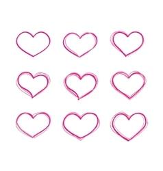 Hand-drawn felt-tip pen red heart shapes vector image