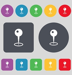 Map pointer icon sign a set of 12 colored buttons vector