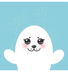 Card design funny white fur seal pups cute seals vector