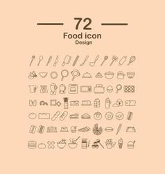 72 food line icon design vector image vector image