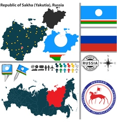 Map of Republic of Sakha vector image