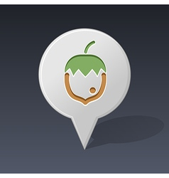 Nut pin map icon fruit vector