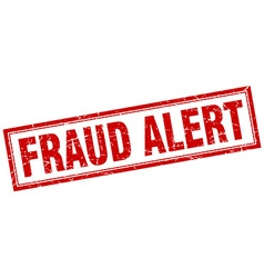 Fraud alert red grunge square stamp on white vector