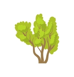 Green multi stemmed tree icon cartoon style vector