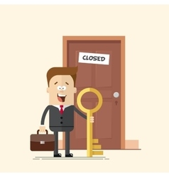 happy businessman with a key manager or standing vector image