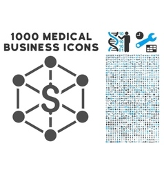 Bank network icon with 1000 medical business vector