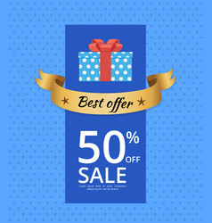 Best offer banner with isolated icon of gift box vector