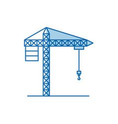 Blue color shading silhouette crane machinery for vector