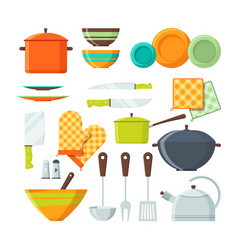 bowl fork and other kitchen tools in cartoon vector image
