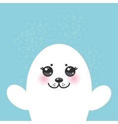 Card design funny white fur seal pups cute seals vector
