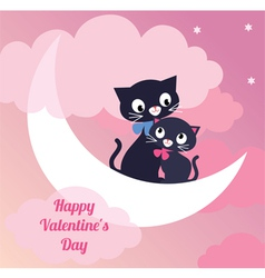 Card Valentines Day couple of lovers cats vector image