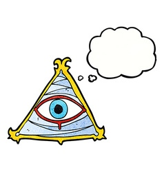 Cartoon mystic eye symbol with thought bubble vector