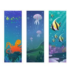 cartoon underwater sea animals vertical banners vector image vector image