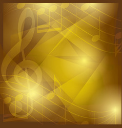 dark golden music background with abstractions vector image vector image