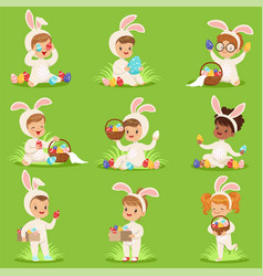 Easter set with eggs and children in bunny vector