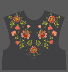 Embroidery floral neckline design vector