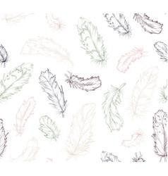 feather bird seamless pattern green navy light vector image