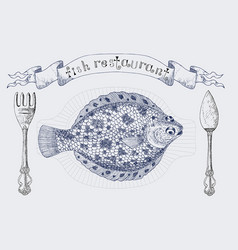 fish restaurant banner with flatfish vector image