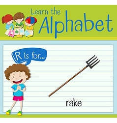 Flashcard letter R is for rake vector image