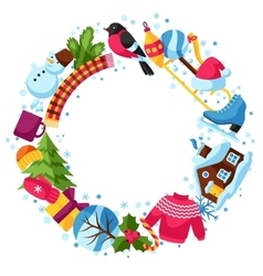 Frame with winter objects Merry Christmas Happy vector image vector image