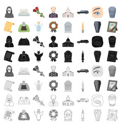Funeral ceremony set icons in cartoon style big vector