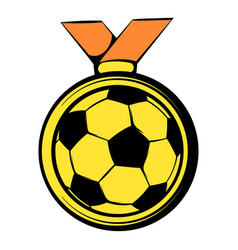 Gold soccer medal icon icon cartoon vector