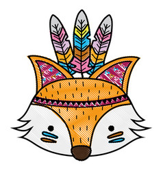 Grated cute fox head animal with feathers vector