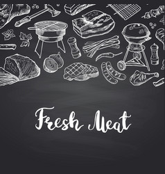 hand drawn meat elements on black vector image vector image