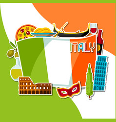 Italy background design italian sticker symbols vector