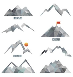 Mountain icon sets vector
