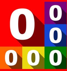 Number 0 sign design template element set vector