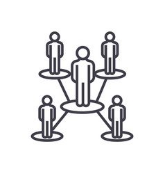 people network line icon sign vector image vector image