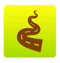 Road simple sign brown icon at green vector