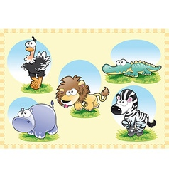 Savannah animal family vector