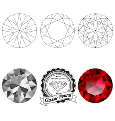 Set of classic round cut jewel views vector image vector image