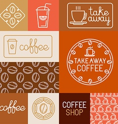 set of design elements for coffee houses and shops vector image