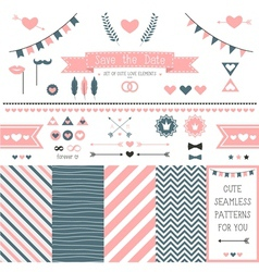 Set of elements for wedding design vector image vector image