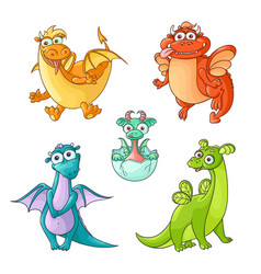 set of funny cartoon hand drawn dragon characters vector image