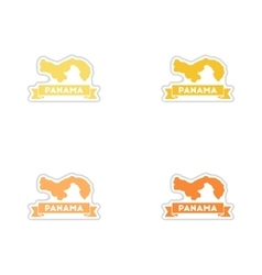 Set of paper stickers on white background Panama vector image vector image
