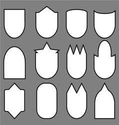 Set of shield line vector image