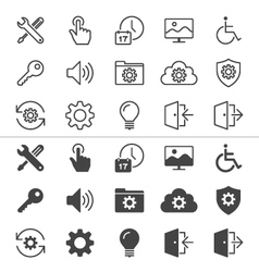 Setting icons thin vector image