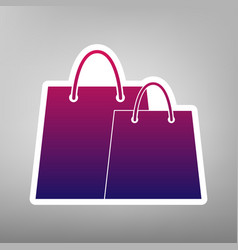 shopping bags sign purple gradient icon vector image vector image