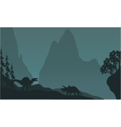 Silhouette of triceratops and spinosaurus vector image
