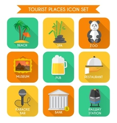 Tourist places icons set vector