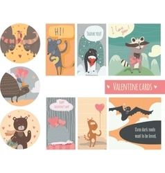 Valentine card set with fun animals with hearts vector