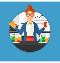 Woman eating fast food vector
