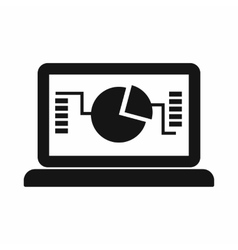 Laptop with business graph icon simple style vector